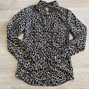 J Crew Cheetah Print Perfect Shirt